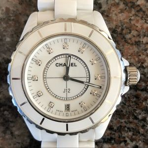 Chanel J12 White Ceramic Diamonds Quartz Watch